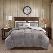 Woolrich Alton Plush to Sherpa Down Alternative Comforter Set Grey/Ivory King