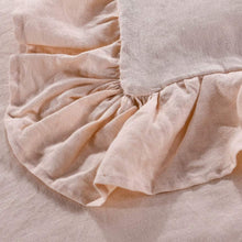 meadow park Stone Washed French Linen Duvet Cover Set 3 Pieces- Super Soft, Queen Size 90 inches x 94 inches - Shams 20 inches x 26 inches, Ruffled Style - Button Closure - Corner Ties