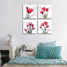 YPY Red Flower Paintings Canvas Print Black and White Poppy Pictures Modern Artwork Ready to Hang for Wall Decor 12x12in