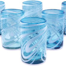NOVICA Blue And White Swirl Hand Blown Glass Water Glasses, 15 Oz, 'Whirling Aquamarine' (Set Of 6)