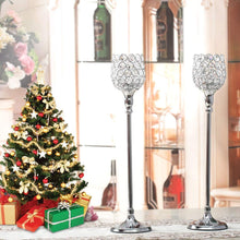 VINCIGANT 2pcs Christmas Decoration Gold Crystal Candlestick Holders/Gifts for Thanksgiving Anniversary Home Decorations