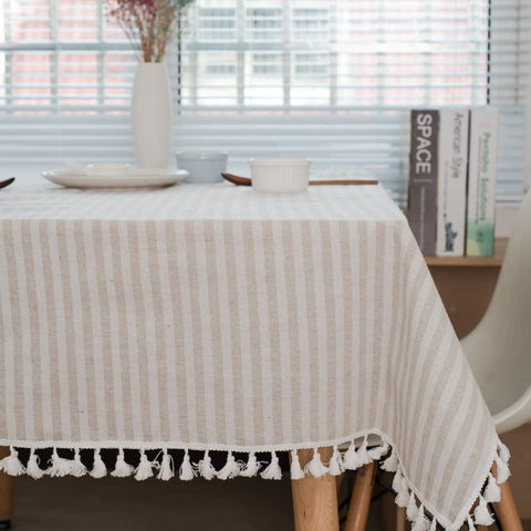 ColorBird Stripe Tassel Tablecloth Cotton Linen Dust-proof Table Cover for Kitchen Dinning Tabletop Decoration (Rectangle/Oblong, 55 x 102Inch