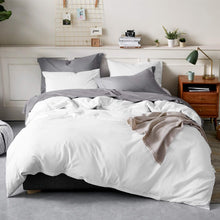 Bedsure 100% Washed Cotton Duvet Cover Queen Size Grey Comforter Cover Bedding Set 3 Pieces (1 Duvet Cover + 2 Pillow Shams)