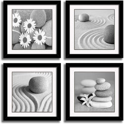 4 Panels Romantic Beach Theme Landscape Artwork Sea Beach Ocean Canvas Prints Contemporary Abstract Seascape Pictures Paintings on Canvas Wall Art for Home Decorations (Black 01