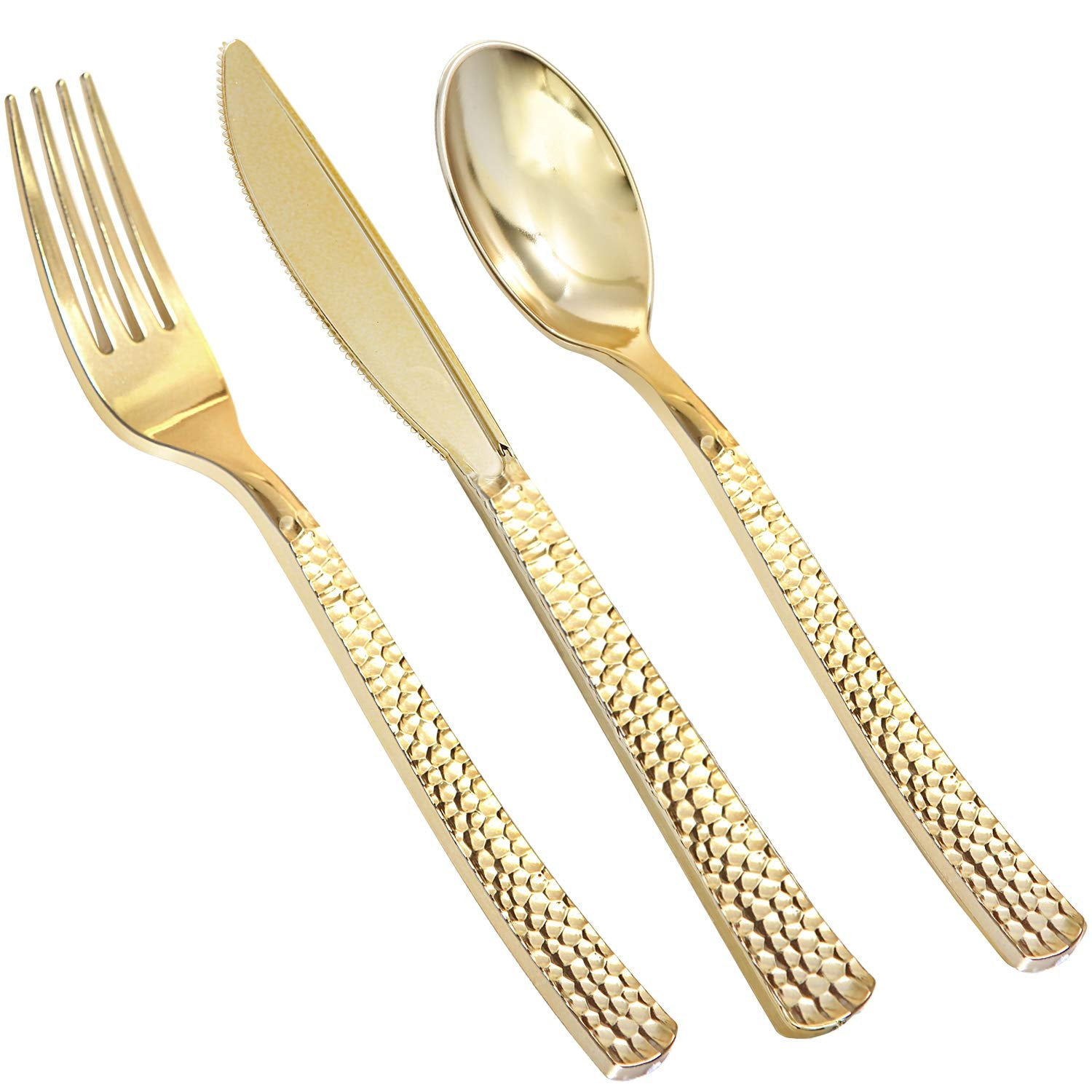180 Pieces Gold Plastic Silverware, Party Plastic Flatware, Wedding Plastic Cutlery Include 60 Gold Forks, 60 Gold Knives, 60 Gold Spoons, Supernal