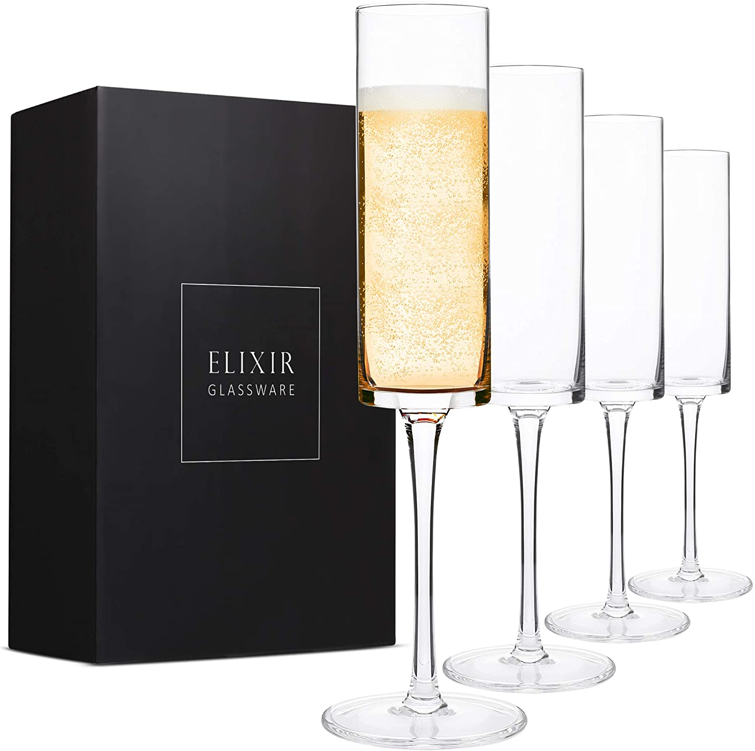 Champagne Flutes, Edge Champagne Glass Set of 4 - Modern & Elegant for Women, Men, Wedding, Anniversary, Christmas, Birthday - 6oz, Premium Crystal