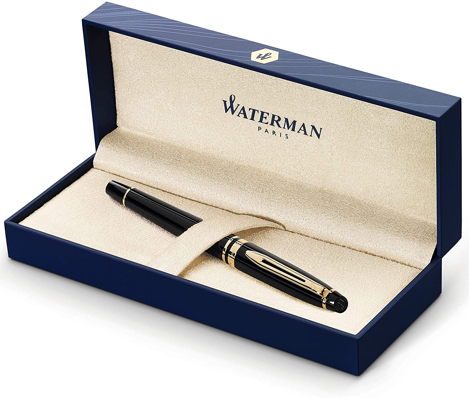 Waterman Expert Rollerball Pen, Gloss Black with 23k Gold Trim, Fine Point with Black Ink Cartridge