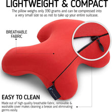 Therapia H-Pillow, Memory Foam Travel Pillow, The Best Neck & Head Support Memory Foam Pillow for Perfect Comfort in Any Sitting Position, Red Quartz