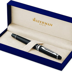 Waterman Expert Rollerball Pen, Gloss Black with Chrome Trim, Fine Point with Black Ink Cartridge, Gift Box