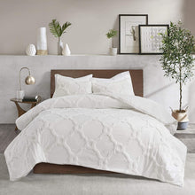 "Madison Park Pacey Tufted Chenille 100% Cotton Duvet, Geometric Shabby Chic Cozy All Season Comforter Cover Bed Set with Matching Shams, King/Cal King(104""x92"")"