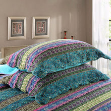 NEWLAKE Striped Jacquard Style Cotton 3-Piece Patchwork Bedspread Quilt Sets