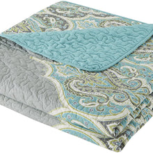 Comfort Spaces Mona 3 Piece Quilt Coverlet Bedspread Ultra Soft 100% Cotton Paisley Pattern Hypoallergenic Bedding Set, Full/Queen
