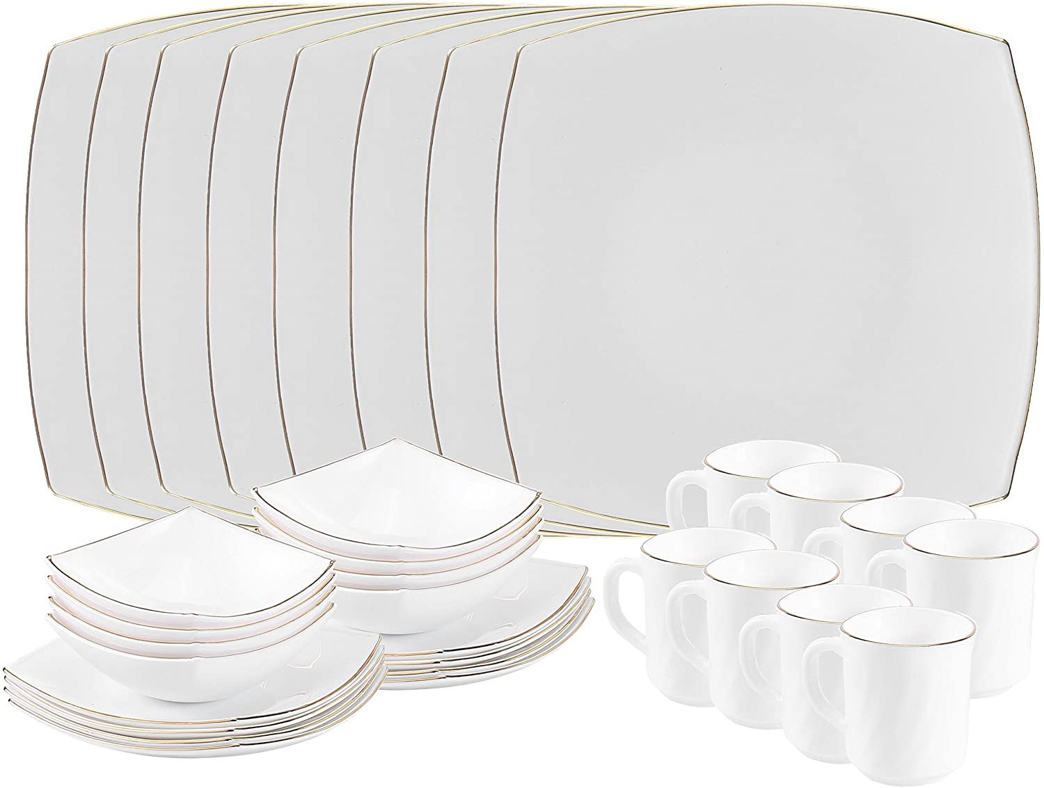 Matashi MTD13205G-2 Platinum Collection Opal Glass 32-Piece Dinnerware Set with Gold Rim – Heat Break Freeze Resistant-Dishwasher Safe – S