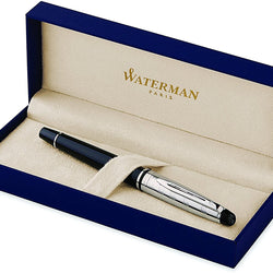 Waterman Expert Deluxe Rollerball Pen, Gloss Black with Chrome Trim, Fine Point with Black Ink Cartridge, Gift Box