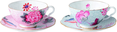 Wedgwood Cuckoo Tea Story Teacup and Saucer, Pink/Blue, Set of 2