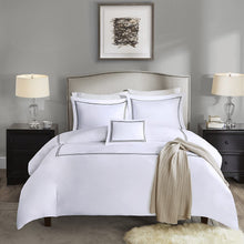 MADISON PARK SIGNATURE Luxury Collection 1000 Thread Count Embroidered Cotton Sateen Duvet Cover Set Grey King