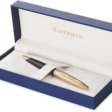 Waterman Carène Essential Rollerball Pen, Gloss Black Wave with 23k Gold Clip, Fine Point with Black Ink Cartridge