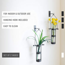 Danya B. QB102-2 Modern Home Décor - Wall Mount Hanging Glass Cylinder Vase Set with Metal Cradle and Hook