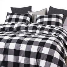 Wake In Cloud - Washed Cotton Duvet Cover Set, Buffalo Check Gingham Plaid Geometric Checker Printed in White Black and Gray, 100% Cotton Bedding, with Zipper Closure (3pcs