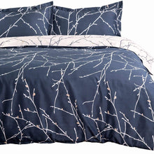 Bedsure Duvet Cover Set with Zipper Closure-Branch and Plum Blue Printed Pattern