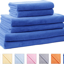 SOFTOWN Microfiber Soft Bath Towels Ultra Absorbent 6 Pack Navy Blue Standard