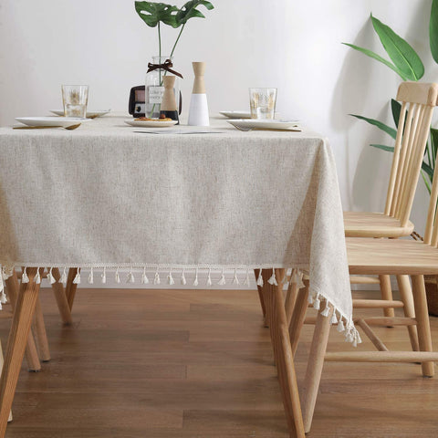 ColorBird Solid Color Tassel Tablecloth Plain Cotton Linen Dust-Proof Table Cover for Kitchen Dinning Party Tabletop Decoration (Rectangle/Oblong, 55 x 70 Inch
