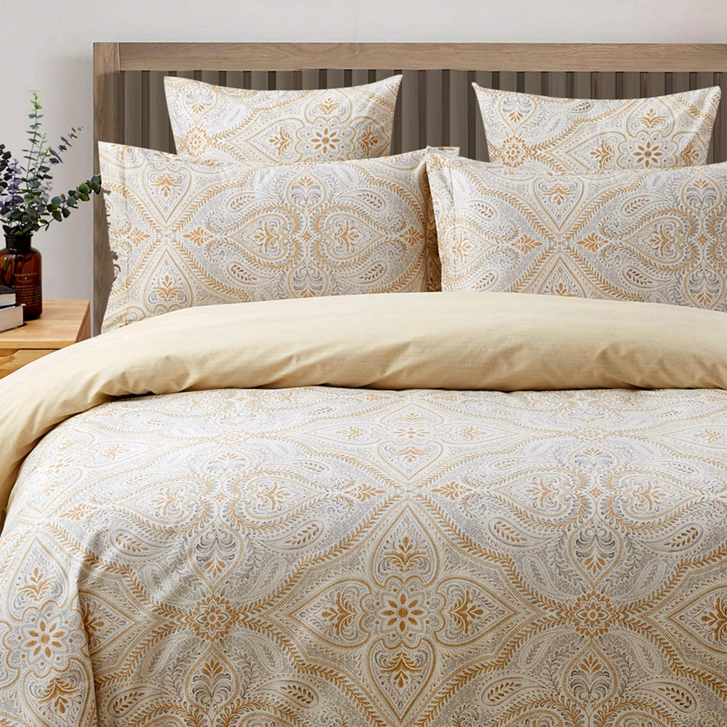 FADFAY Duvet Cover Set Paisley Bedding 100% Cotton Hypoallergenic Gold Classy Luxurious Bedding with Hidden Zipper Closure 3 Pieces, 1Duvet Cover & 2Pillowcases