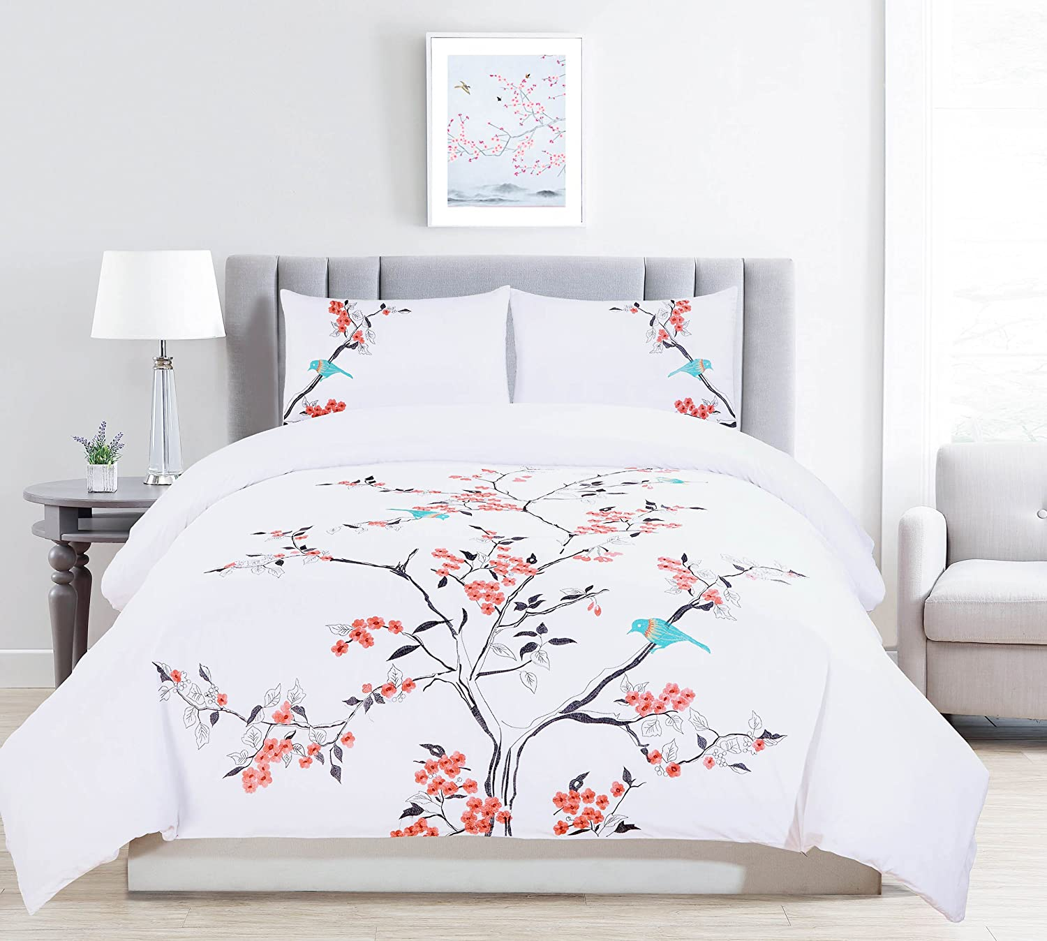 Superior Cherry Garden 100% Cotton Duvet Cover Set, King/California King
