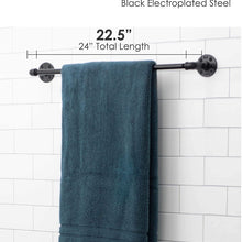 Industrial Pipe Towel Bar Fixture Set by Pipe Decor, Wall Mounted DIY Style, Heavy Duty Rustic Iron, Black Electroplated Rust Free Finish with Mounting Hardware for Kitchen Or Bath Hanging, 24 Inches
