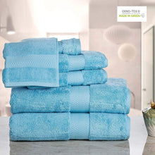 ISABELLA CROMWELL 100% Cotton 700 GSM Towels Set 6-Piece 2 Bath Towels 2 Hand Towels 2 WashCloths Zero Twist Extra Soft Highly Absorbent Luxury Hotel Spa Quality - Light Blue