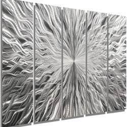 Statements2000 Electrifying Natural Silver Contemporary Metallic Wall Sculpture with Sleek Abstract Etchings - Futuristic Home Decor, Home Accent