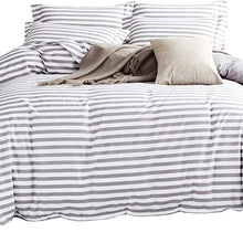 DelbouTree White Duvet Cover Set,Striped Duvet Covers,Contrast 2 Tone Reversible Comforter Cover,Twin Bedding Set,Zipper Closure