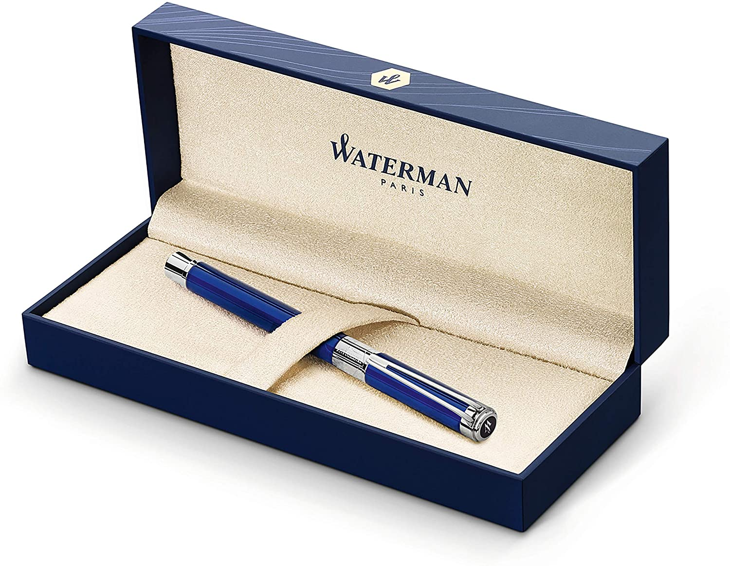 Waterman Perspective Rollerball Pen, Gloss Black with Chrome Trim, Medium Point with Black Ink Cartridge