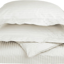 SUPERIOR 100% Egyptian Cotton 650 Thread Count King/California King 3-Piece Duvet Cover Set, Single Ply, Stripe