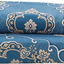 DelbouTree Blue Duvet Cover Set, Damask Print Comforter Cover,Queen