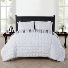 King Size Removable Duvet Cover Set in White Posh Pintuck 3 Pc Set w/ Unfilled