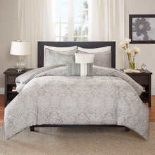 Madison Park Averly 6 Piece Duvet Cover Set, Grey, Cal King, King/California King