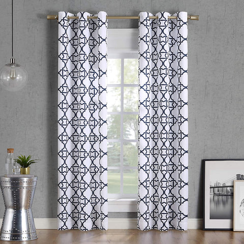 No. 918 Barkley Trellis Semi-Sheer Grommet Curtain Panel, 40