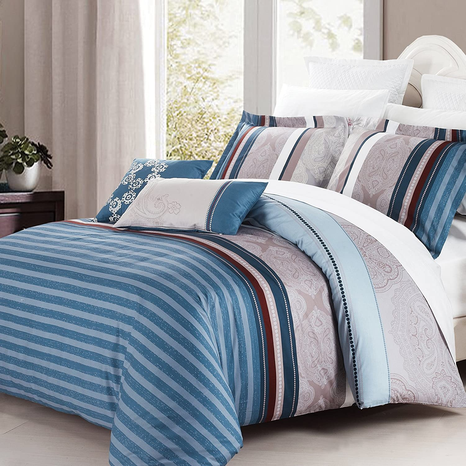 North Home Brooks 4-Piece Duvet Cover Set, Queen