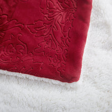 Tache Merlot Red Bed Blanket - Embossed Super Soft Warm Sherpa Fleece Throw Blanket - Twin Size - 63 x 87 Inch