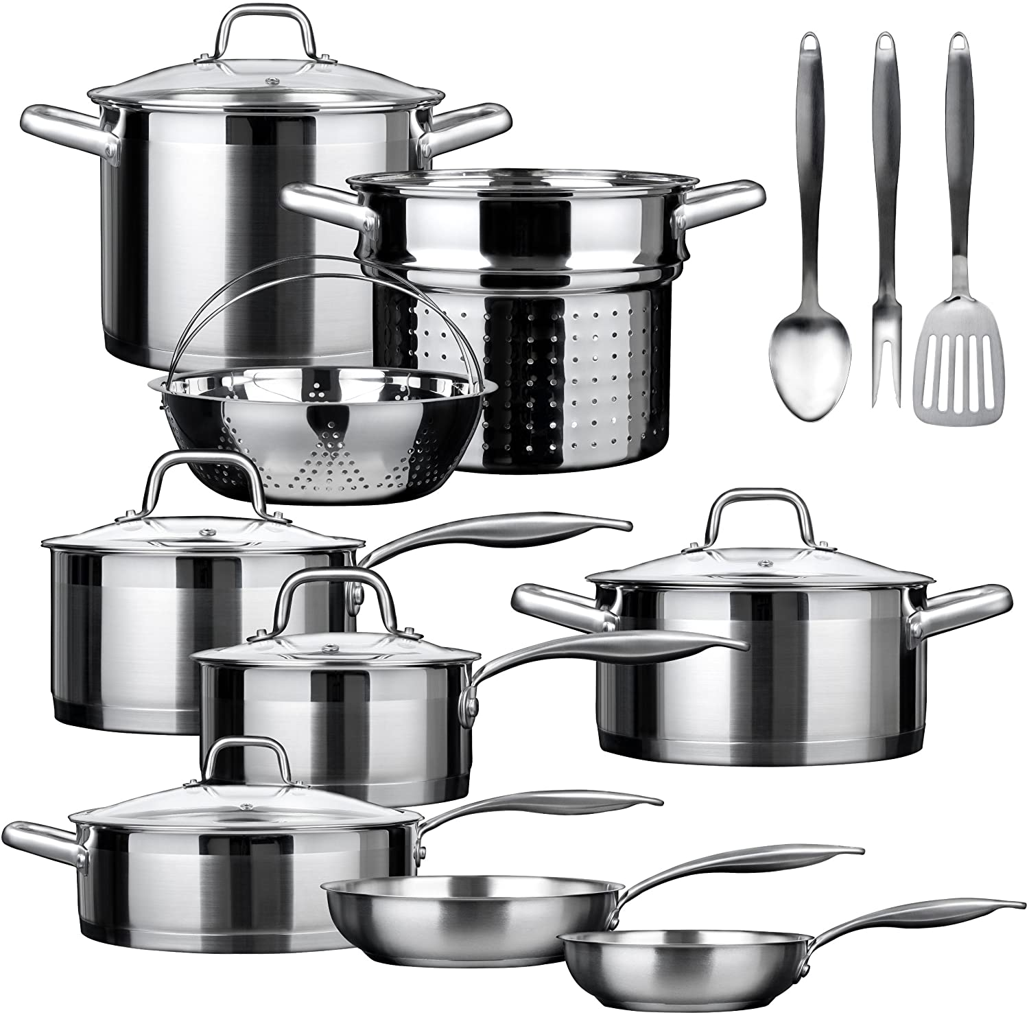 Duxtop SSIB-17 Professional 17 Pieces Stainless Steel Induction Cookware Set, Impact-bonded Technology