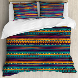 Ambesonne Tribal Duvet Cover Set, Striped Retro Pattern with Rich Mexican Color Folkloric Print, Decorative 3 Piece Bedding Set with 2 Pillow Shams, Queen Size, Teal Plum