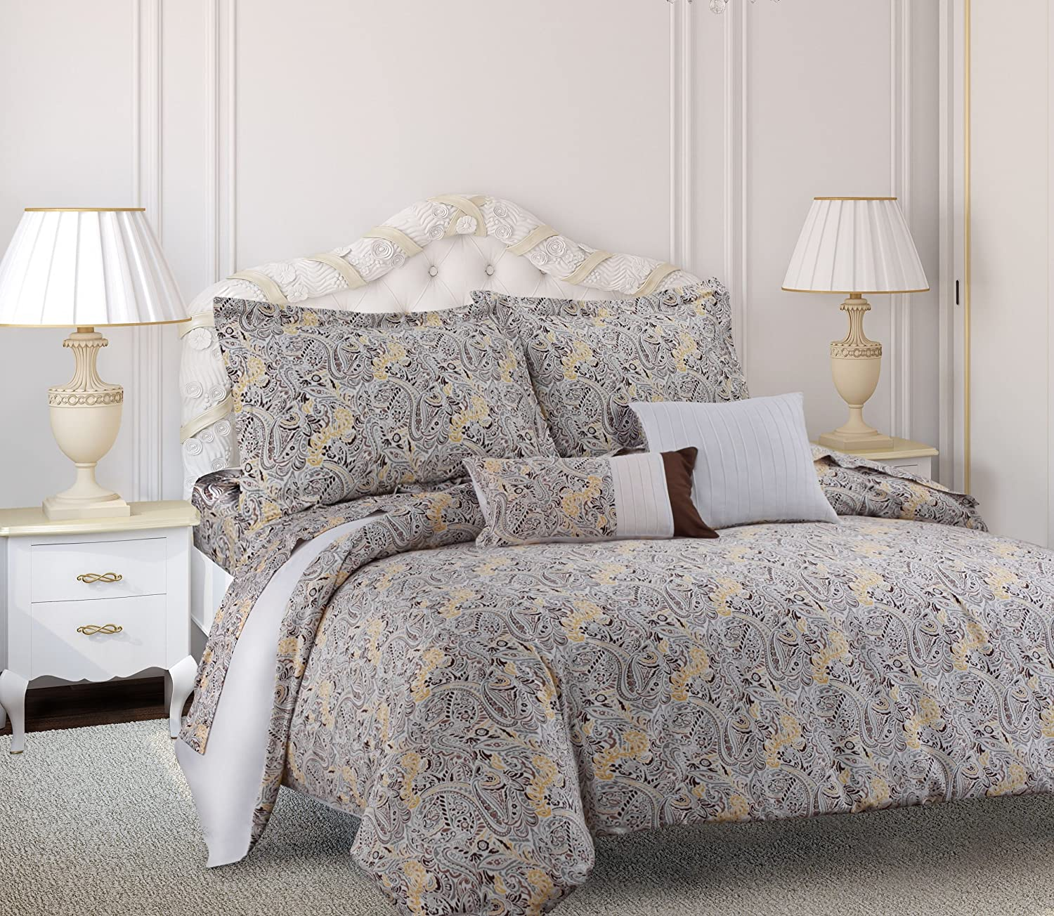 Tribeca Living Fiji 5 Piece Egyptian Cotton Paisley Printed Duvet Cover Set, Queen