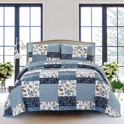 SLPR Pacific Coast 3-Piece Bedding Quilt Set - King with 2 Shams | Blue and White Lightweight Quilted Bedspread