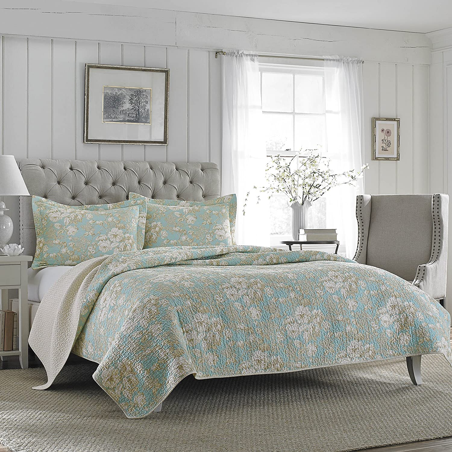Laura Ashley Brompton Serene Reversible Quilt Set, Twin