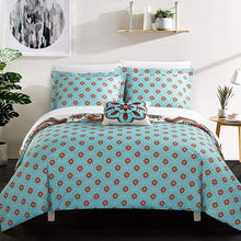 Chic Home 4 Piece Feinch Large Scale Bohemian Paisley Reversible Printed with Embroidered Details. Queen Duvet Cover Set Blue