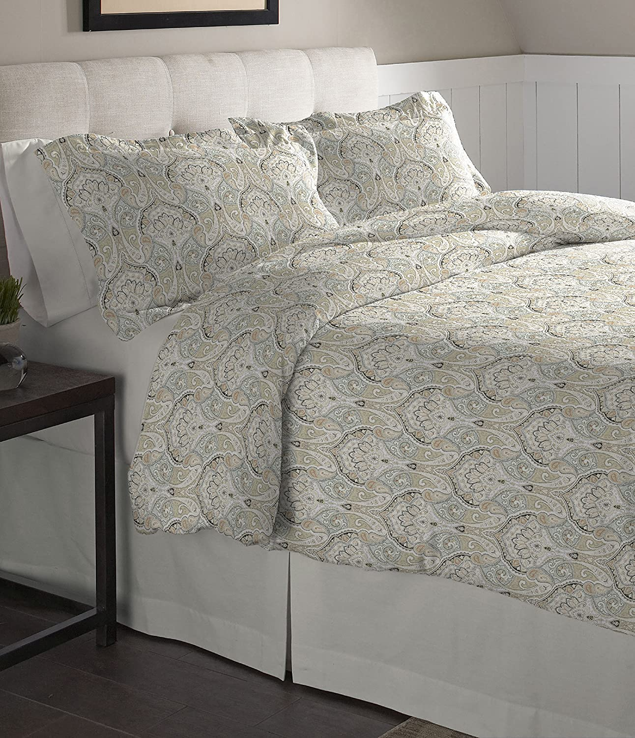 Pointehaven Flannel Oversized Duvet Set, Full/Queen, Paisley