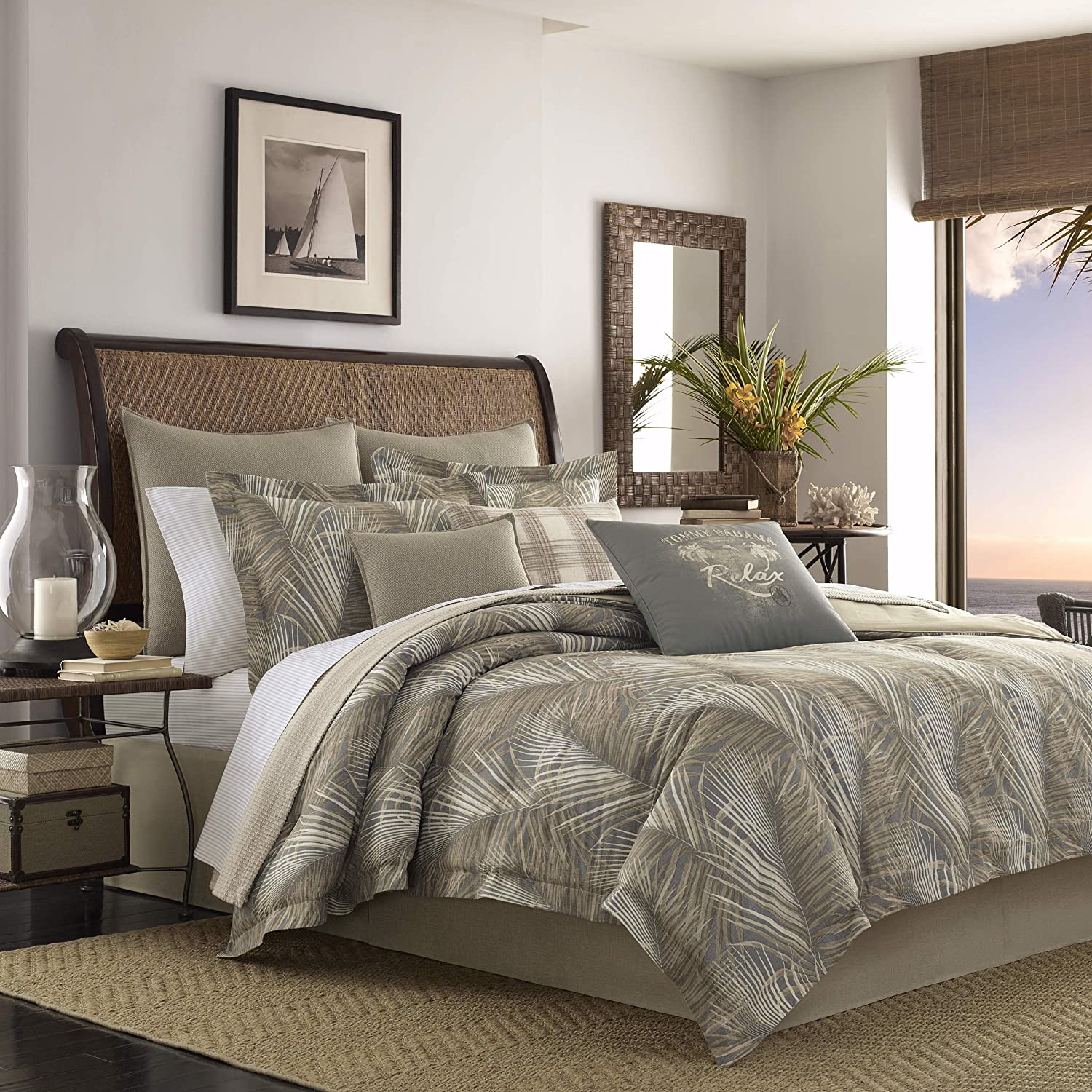 Tommy Bahama Raffia Palms Duvet Cover, King, Brown