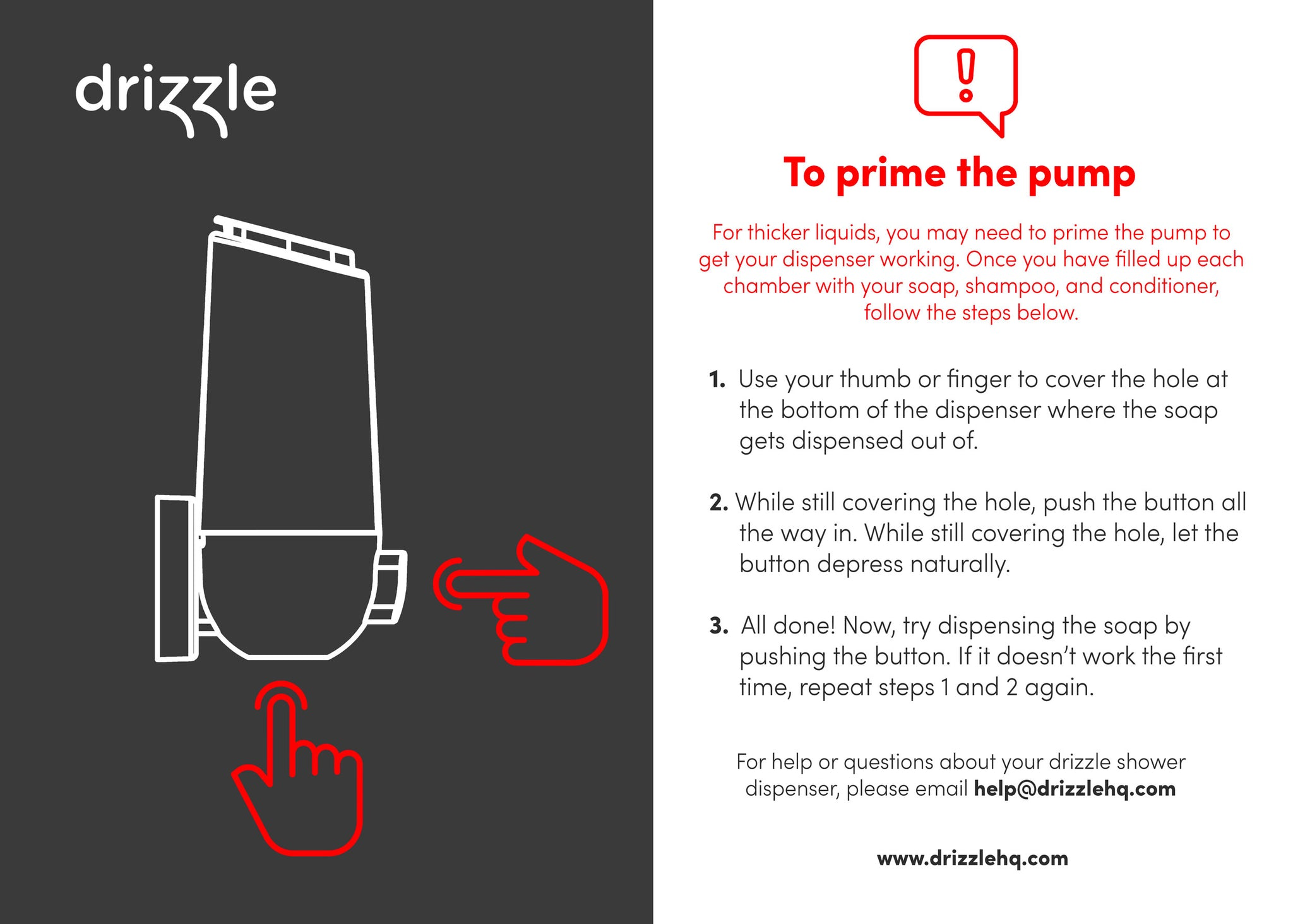 how to prime drizzle shower dispenser pump instructions