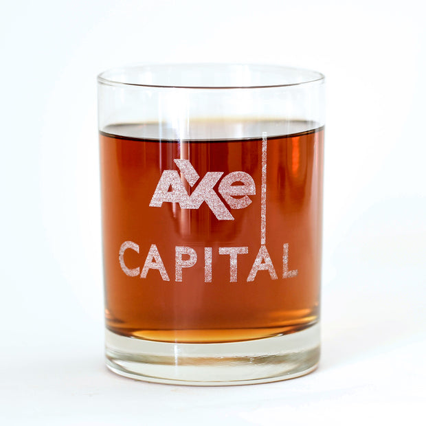 Billions Axe Capital Stacked Logo Rocks Glass